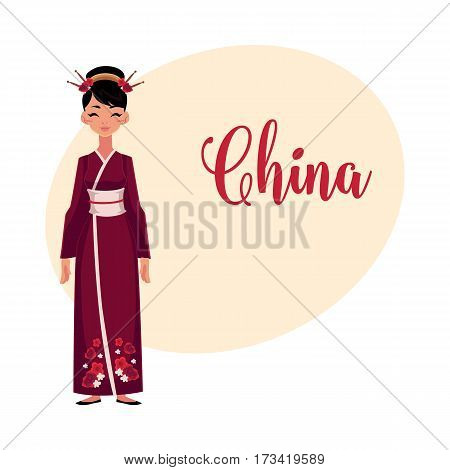 Chinese woman in traditional national costume, long cheongsam dress, cartoon vector illustration with place for text. Woman from China in Chinese national dress wearing hair sticks