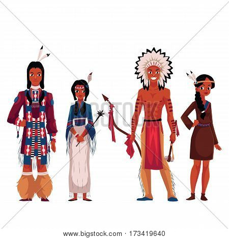 Set of native American Indians, men and women, in traditional national costumes, cartoon vector illustration isolated on white background. Native Americans, American Indians People in national clothes