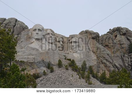 Mount Rushmore on a gloomy spring morning. Located in the Black Hills of South Dakota