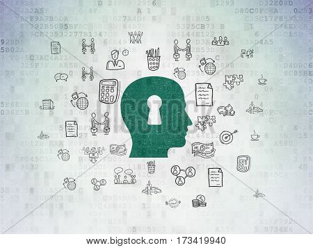 Finance concept: Painted green Head With Keyhole icon on Digital Data Paper background with  Hand Drawn Business Icons