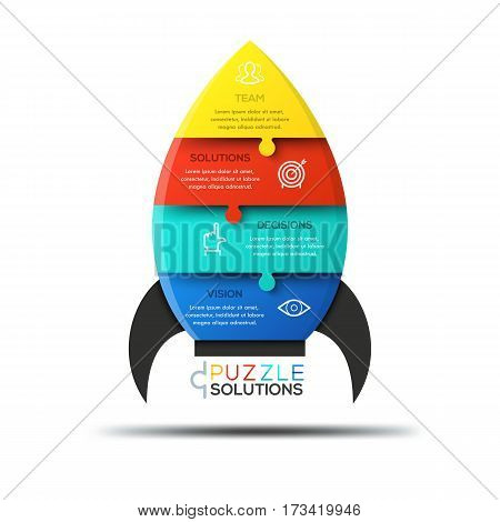 Modern infographic design template, jigsaw puzzle in shape of spaceship divided into 4 pieces. Elements of successful startup launch business concept. Vector illustration for presentation, banner.