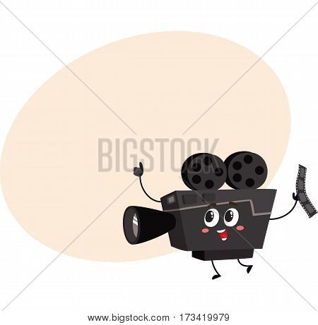 Cute and funny vintage film reel camera character with smiling human face, cartoon vector illustration with place for text. Smiling movie, cinema shooting film camera character, mascot