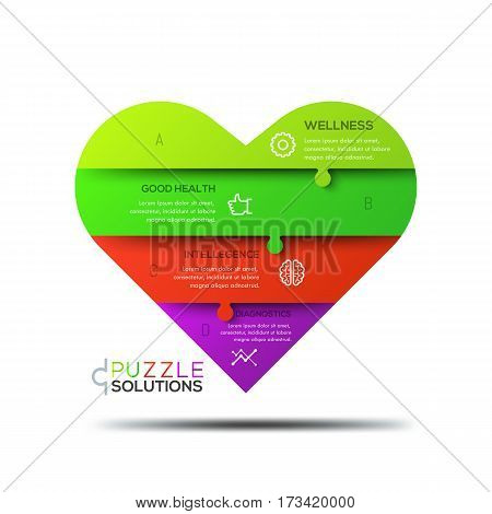 Modern infographic design template, jigsaw puzzle in shape of heart divided into 4 parts. Healthcare, wellness and medical service concept. Vector illustration for website, presentation, poster, ad.