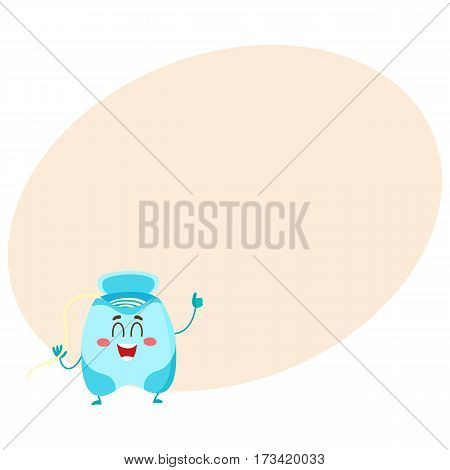 Cute and funny dental floss character giving thumb up, cartoon vector illustration with place for text. Dental floss funny character, teeth hygiene, dental care for children concept
