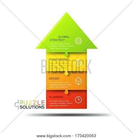 Infographic design template, jigsaw puzzle in shape of upward pointing arrow divided into 4 parts. Progress, business growth and development strategy concept. Vector illustration for report, poster.