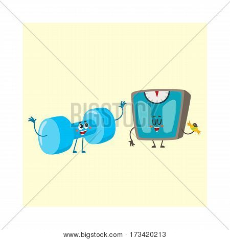 Funny dumbbell and scale characters with smiling human faces, weight management concept, cartoon vector illustration isolated on white background. Smiling dumbbell and weight scale characters