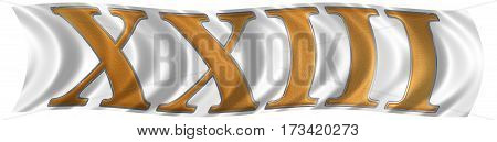 In The Wind Fluttering The Flag With Roman Numeral Xxiii, Tres Et Viginti, 23, Twenty Three, Isolate