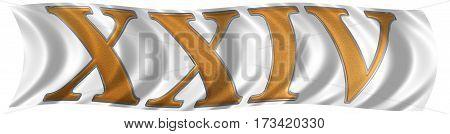 In The Wind Fluttering The Flag With Roman Numeral Xxiv, Quattuor Et Viginti, 24, Twenty Four, Isola