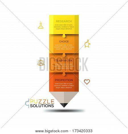Modern infographic design template, jigsaw puzzle in shape of pencil divided into 4 parts. Study, research and educational program concept. Vector illustration for website, presentation, poster, ad.