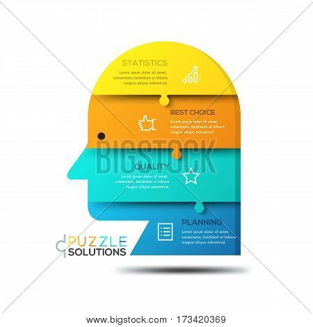 Modern infographic design template, jigsaw puzzle in shape of human head divided into 4 horizontal parts. Smart management and business development concept. Vector illustration for website, poster.