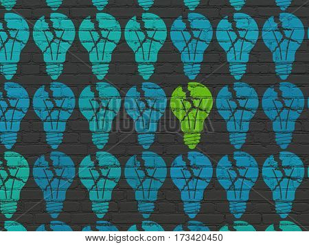 Business concept: rows of Painted blue light bulb icons around green light bulb icon on Black Brick wall background