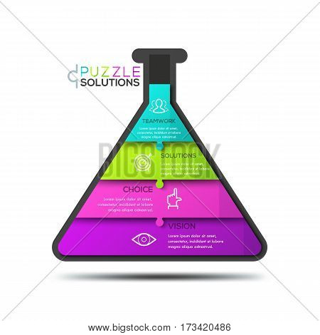 Modern infographic design template, jigsaw puzzle in shape of flask divided into 4 pieces. Science and education, scientific research and development business concept. Vector illustration for website.