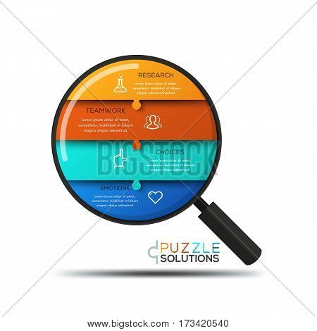 Modern infographic design template, jigsaw puzzle in shape of magnifier divided into 4 pieces. Problem analyzing, research and information search process concept. Vector illustration for website, ad.