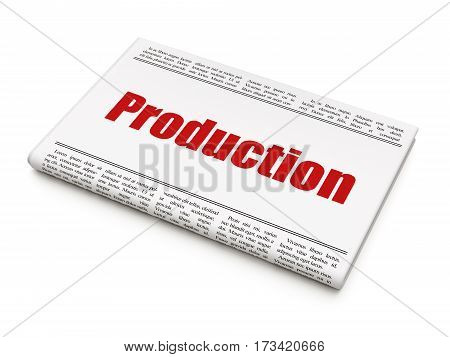 Business concept: newspaper headline Production on White background, 3D rendering