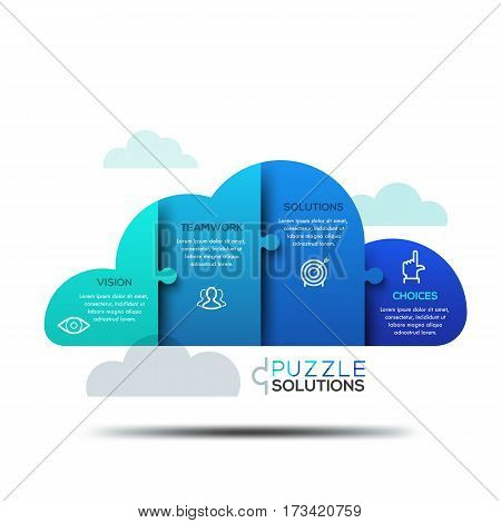 Modern infographic design layout, jigsaw puzzle in shape of cloud divided into 4 parts. Cloud computing services advertisement, data storage technology concept. Vector illustration for website, ad.