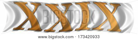 In The Wind Fluttering The Flag With Roman Numeral Xxix, Novem Et Viginti, 29, Twenty Nine, Isolated