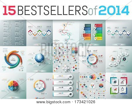 Big set of 15 modern infographic business design templates, bestsellers of 2014, elements for diagrams, charts, schemes. Vector illustration for website, report, presentation, poster, advertisement.