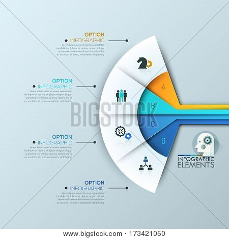 Modern infographic design template, 4 connected sectoral lettered elements and text boxes. Fan chart. Elements for successful business development concept. Vector illustration for website, report.