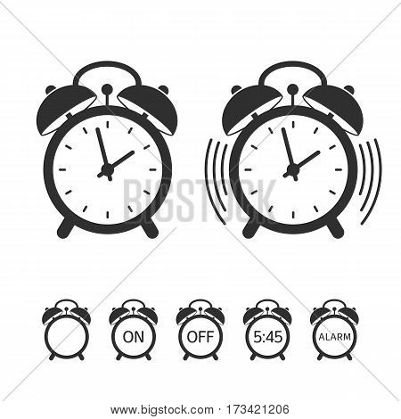 Alarm clock vector icon set. Vector alarm-clock sign isolated on white background. Illustration in flat style. EPS 10.