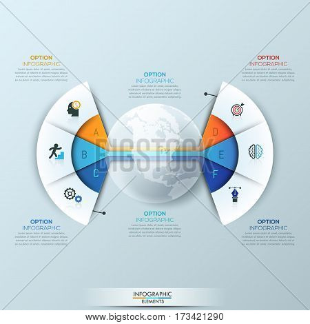 Modern infographic design template, 2 connected fan charts with 6 sectoral lettered elements and text boxes. Global communication and networking concept. Vector illustration for website, presentation.