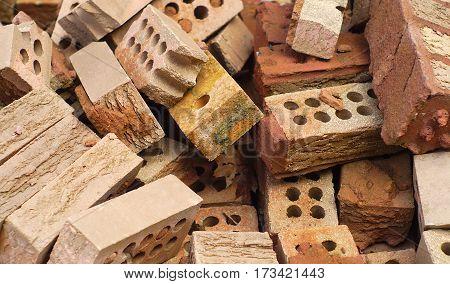 bricks heap red masonry structure ruin demolition