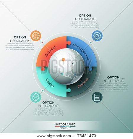 Infographic design template, 4 connected jigsaw puzzle pieces and globe in center. Elements of international business communication, global supply chain. Vector illustration for presentation, report.
