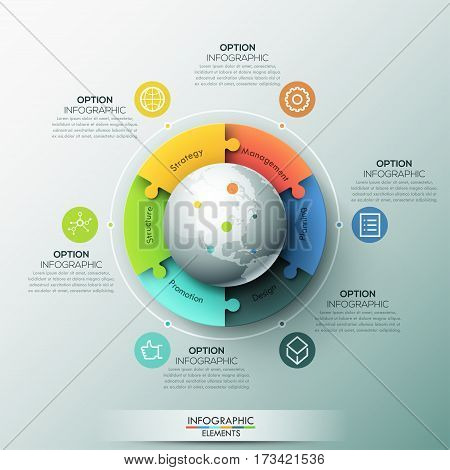 Modern infographic design layout, 6 connected jigsaw puzzle pieces located around globe. Steps of international business development and communication. Vector illustration for presentation, brochure.