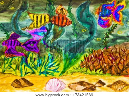 Hand painted picture, watercolor, fishes and marine plants in water. S