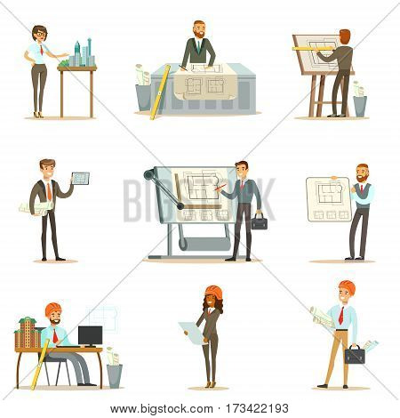 Architect Profession Set Of Vector Illustrations With Architects Designing Projects And Blueprints For Building Construction. Smiling Cartoon Characters Involved In Architectural Plans Design For Modern Landscape.