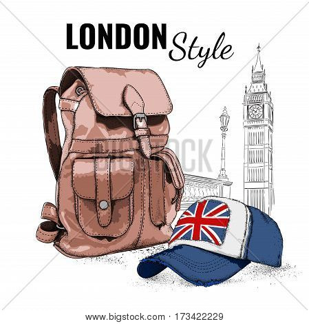 Hand drawn Vector Backpack and cap. London background. Vector illustration