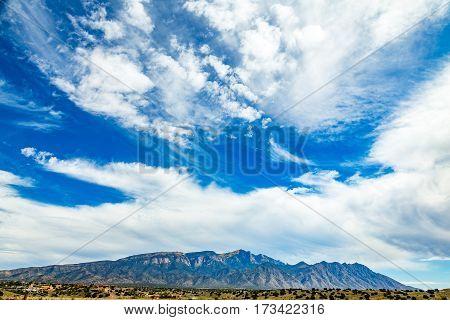 A view of Palomas Peak in the Sandia Mountains near Bernalillo New Mexico.