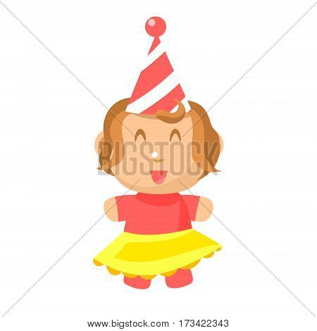 Small Happy Baby Girl In Party Hat And Yellow Skirt Standing Vector Simple Illustrations With Cute Infant. Part Of Infancy Series Of Isolated Flat Icons With Smiling Kids And Their Activities.