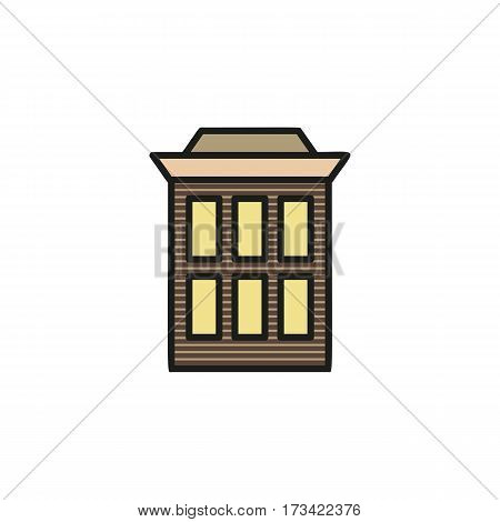 Isolated grey color low-rise municipal house in lineart style icon, element of urban architectural building vector illustration