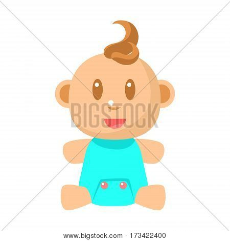 Small Happy Baby Boy Sitting In Blue Onesie Vector Simple Illustrations With Cute Infant. Part Of Infancy Series Of Isolated Flat Icons With Smiling Kids And Their Activities.