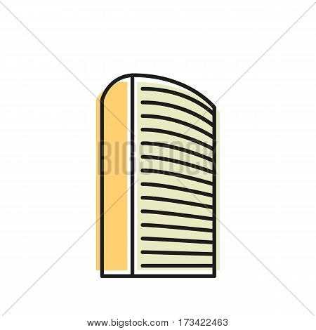 Isolated yellow color skyscraper in lineart style icon, element of urban architectural building vector illustration