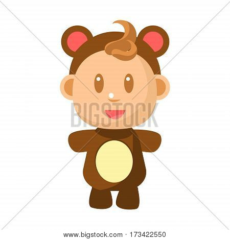 Small Happy Baby Standing In Brown Bear Costume Vector Simple Illustrations With Cute Infant. Part Of Infancy Series Of Isolated Flat Icons With Smiling Kids And Their Activities.