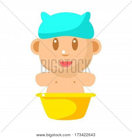 Small Happy Baby Taking Bath In Blue Bathing Hat Vector Simple Illustrations With Cute Infant. Part Of Infancy Series Of Isolated Flat Icons With Smiling Kids And Their Activities.