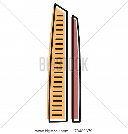 Isolated brown color skyscraper in lineart style icon, element of urban architectural building vector illustration