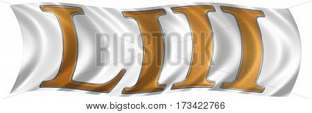 In The Wind Fluttering The Flag With Roman Numeral Liii, Tres Et Quinquaginta, 53, Fifty Three, Isol