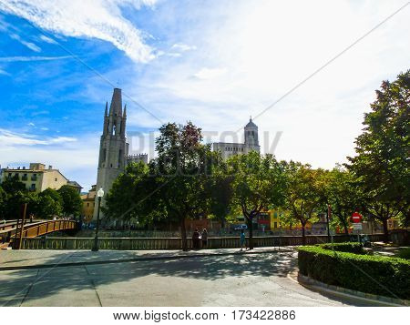 The view of Saint Mary Cathedral in Girona, Catalonia, Spain