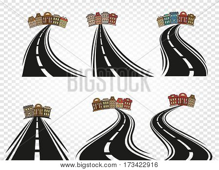 Isolated abstract road with dividing marking and cityscape icons set on checkered background, highway vector illustrations collection