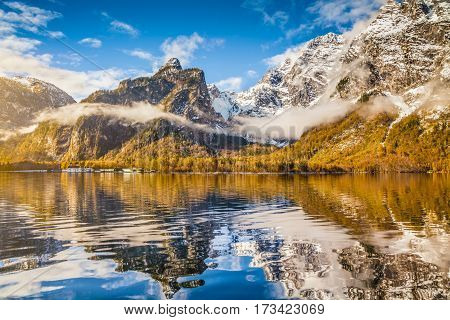 Idyllic Autumn Landscape With Mountain Lake And Alps