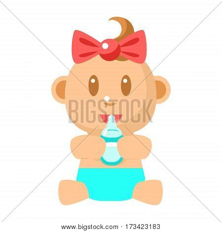 Small Happy Baby Girl Sitting Holding Milk Bottle Vector Simple Illustrations With Cute Infant. Part Of Infancy Series Of Isolated Flat Icons With Smiling Kids And Their Activities.