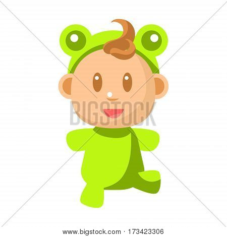 Small Happy Baby Walking In Green Frog Costume Vector Simple Illustrations With Cute Infant. Part Of Infancy Series Of Isolated Flat Icons With Smiling Kids And Their Activities.