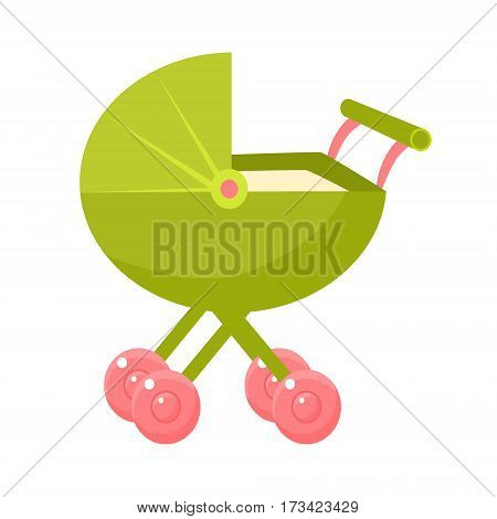 Green Stroller With Pink Wheels And Closed Hood, Object From Baby Room, Happy Childhood Cute Illustration. Part Of Happy Childhood And Infancy Isolated Cartoon Items Series.