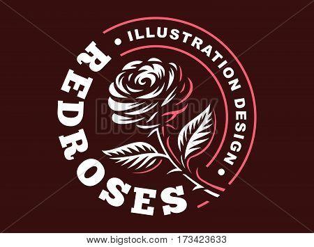 Red rose logo - vector illustration, emblem design on dark background