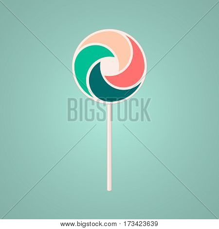 Fun beauty cute children isolated geek Lollipop on blue background. Round abstract vector shape. Cartoon flat stylized logotype. Colorful logo template. Candy Lollipop propeller element logo