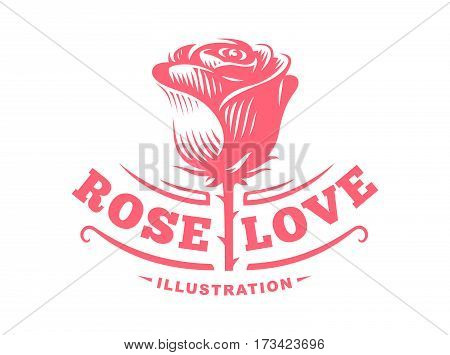 Red rose logo - vector illustration, emblem design on white background
