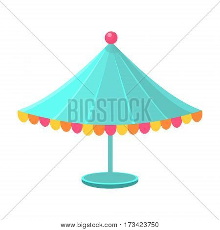 Blue Decorated Circus Canopy, Object From Baby Room, Happy Childhood Cute Illustration. Part Of Happy Childhood And Infancy Isolated Cartoon Items Series.