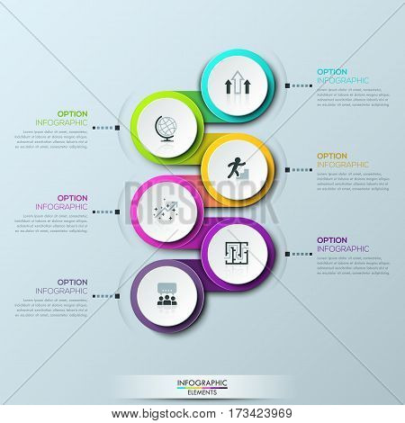 Infographic design template with 6 multicolored successively connected circular elements and text boxes. Steps of business project development. Vector illustration for website, presentation, brochure.